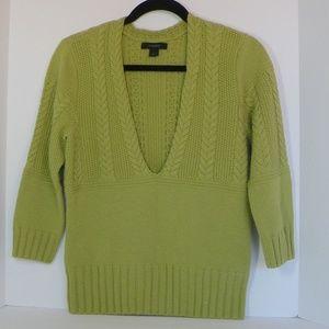 Express Green Sweater Sz L 3/4 sleeves